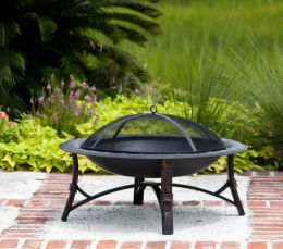 Steel Fire Pit w/ Antique Bronze Finish & Hammered Lip