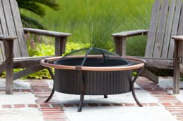 Steel Fire Pit w/ Antique Bronze Painted Finish & Copper Rails