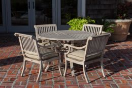 Aged Teak Wood Finish Aluminum Patio Dining Set