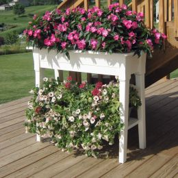 Raised Planter in White Resin - Great for Herbs Vegetables and Flowers