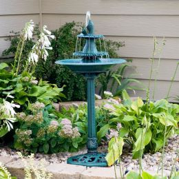 Outdoor Bird Bath Water Fountain with Fish