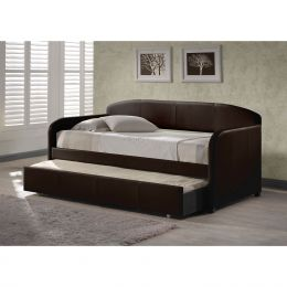 Twin size Brown Faux Leather Daybed with Roll-out Trundle