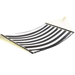 Sunnydaze Black and White Quilted Double Fabric Hammock w/ Spreader Bar