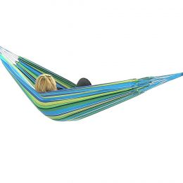 Blue/Green Cotton Double Brazilian Hammocks by Sunnydaze Decor