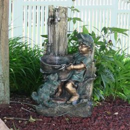 Boy and Dog Fetching Water Outdoor Fountain with LED Light by Sunnydaze Decor