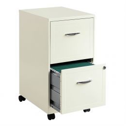 2-Drawer Pear White Steel File Cabinet with Casters