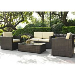 4-Piece Outdoor Wicker Resin Patio Furniture Set with Cushions