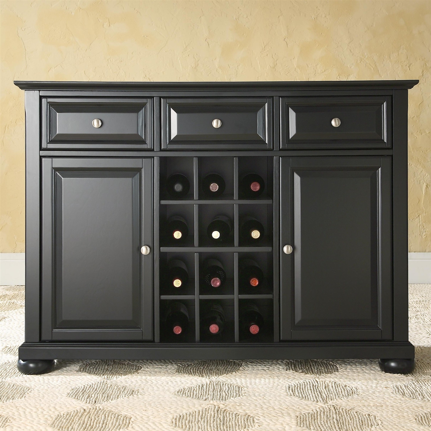 Black Dining Room Buffet Sideboard & Wine Storage Cabinet