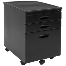Black 3-Drawer Locking Mobile Filing Cabinet with Casters