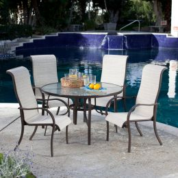 5-Piece Patio Furniture Dining Set w/ High Back Padded Sling Seats