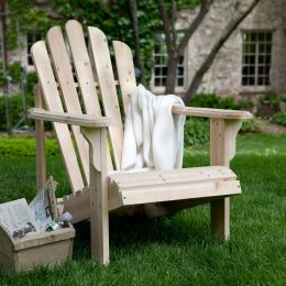 Unfinished Asian Fir Wood Adirondack Chair with Contoured Seat and Wide Armrests