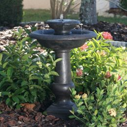 2-Tier Outdoor Solar Bird Bath Fountain in Oiled Bronze Finish Resin