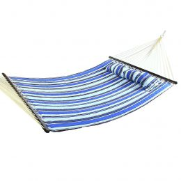 Sunnydaze Catalina Beach Quilted Double Fabric Hammock w/ Spreader Bar and Pillow