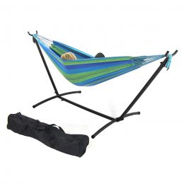 Sunnydaze Blue/Green Double Cotton Brazilian Hammock & Stand Combos