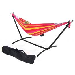 Sunnydaze Red/Yellow Cotton Double Brazilian Hammock & Stand Combos