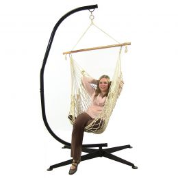 Cotton Rope Hammock Chair with Wood Bar and C-Stand Combo By Sunnydaze Décor