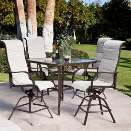5-Piece Patio Furniture Dining Set with Bar Height Sling Seats