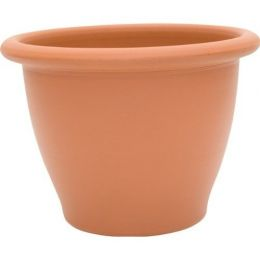 9-inch Snap-Fit Poly Planter in Dark Terra Cotta