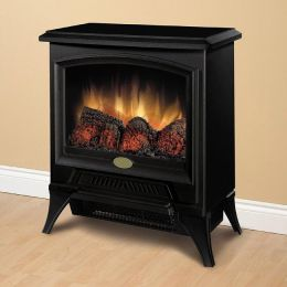 Compact Metal & Glass Electric Flame Fireplace Space Heater
