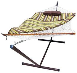 Sunnydaze Desert Stripe Rope Hammock and Stand Combo with Pad and Pillow