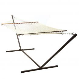 Sunnydaze Cotton Double Wide Rope Hammock with Wood Spreaders and Stand Combo