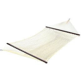 Sunnydaze Cotton Double Wide Rope Hammock with Wood Spreaders