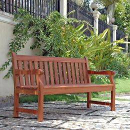 5-Ft Outdoor Wooden Garden Bench with Armrests