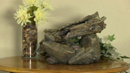 Sunnydaze Fallen Log on River Rock Tabletop Fountain with LED Light
