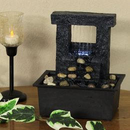 Sunnydaze Falling Stream Tabletop Fountain with LED Lights