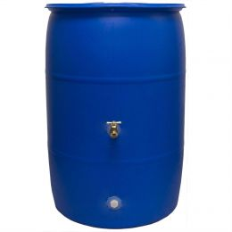 55-Gallon Rain Barrel in Recycled Blue Plastic with Brass Spigot