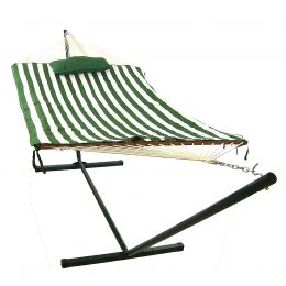 Green/White Stripe Rope Hammock and Stand Combo with Pad and Pillow