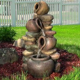 Honey Pot with Stones Outdoor Fountain w/ LED Lights by Sunnydaze Decor