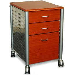Modern 3-Drawer Filing Cabinet with Casters in Cherry Wood Finish