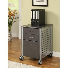 Granite Black 3-Drawer Modern File Cabinet with Glass Top and Wheels