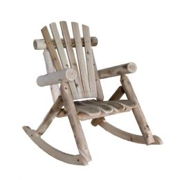Natural Cedar Log Adirondack Style Rocking Chair