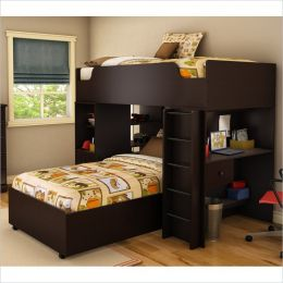 Modern Twin over Twin L-Shaped Bunk Bed with Desk