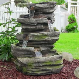 Lighted Cobblestone Fountain w/LED Lights by Sunnydaze Decor