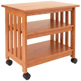 Mission Style Wood TV Stand / Printer Cart in Golden Oak Finish