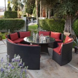 Modern 8-Seat Wicker Resin Patio Dining Set with Red Cushions