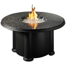 "Meriela 48"" Round Chat Fire Pit Table with Granite Top"