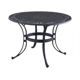 48-inch Round Black Metal Outdoor Patio Dining Table with Umbrella Hole