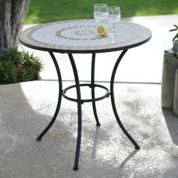 30-inch Round Bistro Style Wrought Iron Outdoor Patio Table with Tile Top