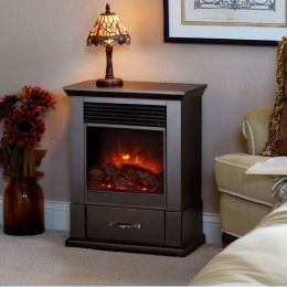 1500-Watt Electric Firebox Space Heater with Drawer in Dark Walnut