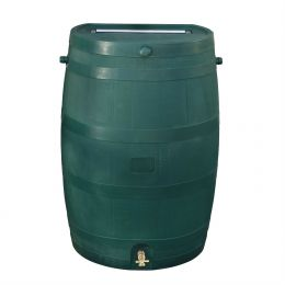 50-Gallon Oak Wood Style Rain Barrel in Green Plastic