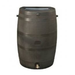50-Gallon Brown Rain Water Collection Barrel with Brass Spigot