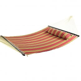 Red Quilted Double Fabric Hammock w/ Spreader Bar and Pillow by Sunnydaze Decor