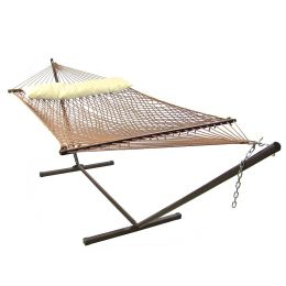 Sunnydaze Brown Polyester Rope Hammock & Stand with Pillow Combo