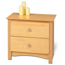 Two Drawer Bedroom Nightstand in Maple Finish