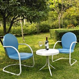 3-Piece Patio Furniture Set w/ Table & 2 Chairs in Sky Blue