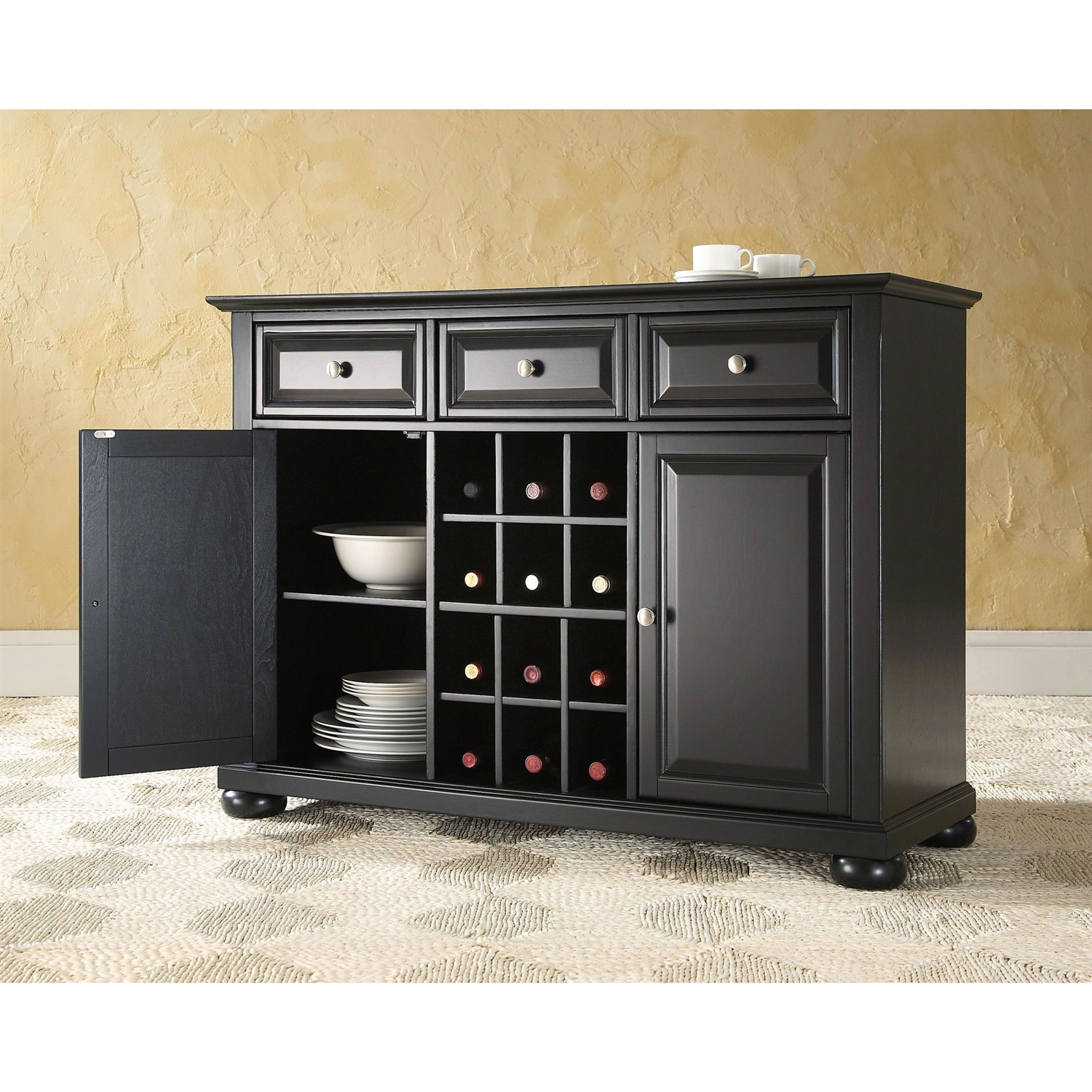 wood sideboard buffet dining serving table & cabinet